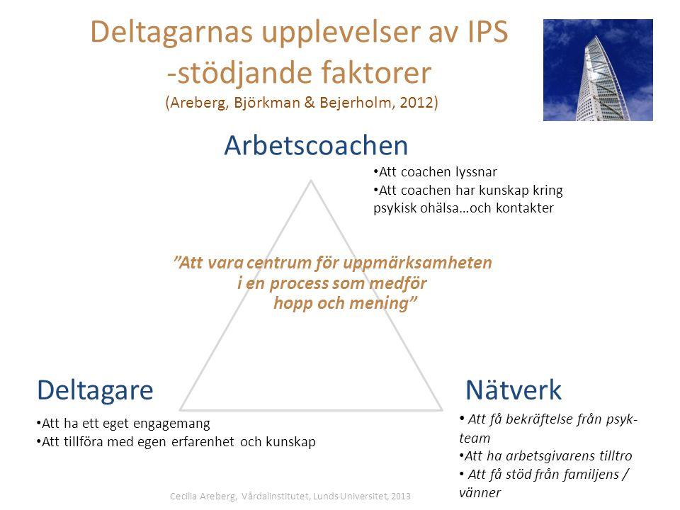Deltagarnas upplevelser av IPS -stödjande faktorer