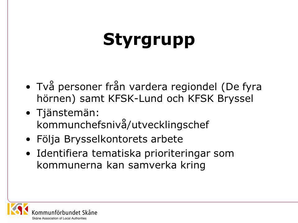 Styrgrupp Två personer från vardera regiondel (De fyra hörnen) samt KFSK-Lund och KFSK Bryssel. Tjänstemän: kommunchefsnivå/utvecklingschef.