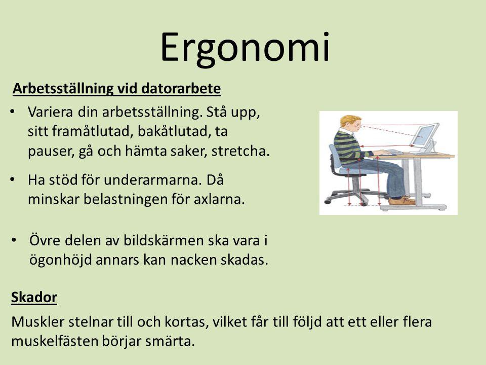 Ergonomi Arbetsställning vid datorarbete