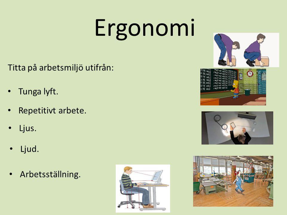 Ergonomi Titta på arbetsmiljö utifrån: Tunga lyft. Repetitivt arbete.