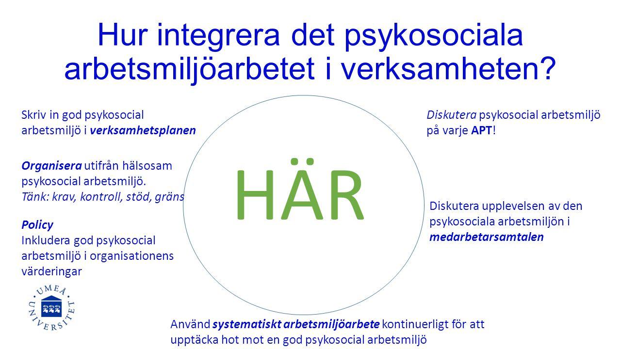 Hur integrera det psykosociala arbetsmiljöarbetet i verksamheten