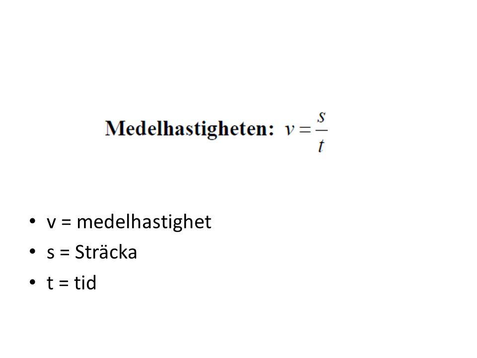 v = medelhastighet s = Sträcka t = tid