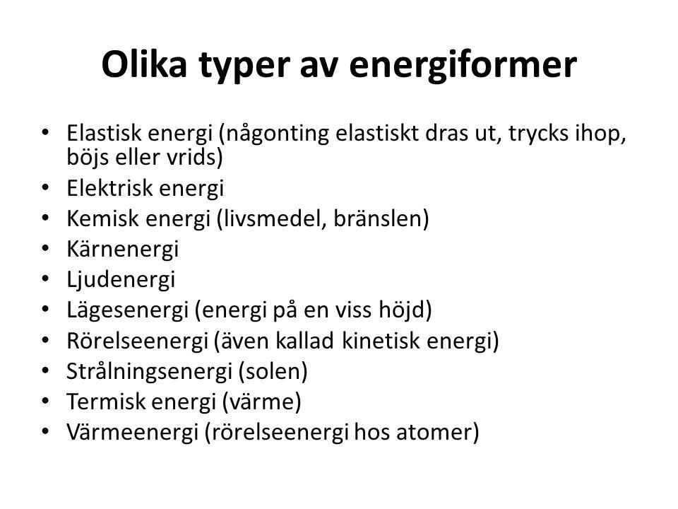 Olika typer av energiformer