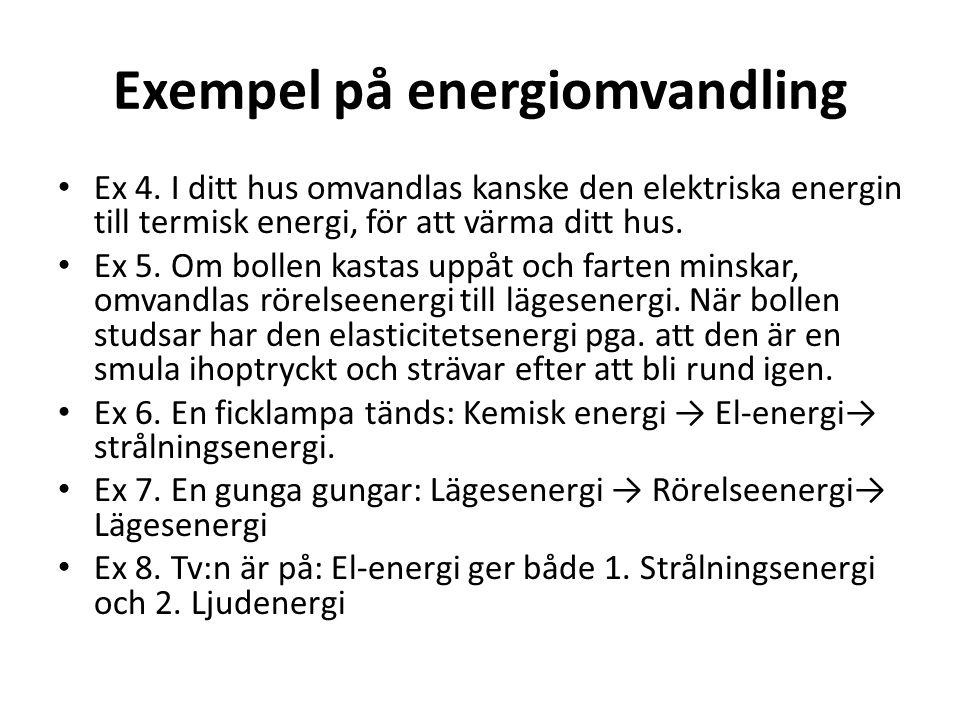 Exempel på energiomvandling