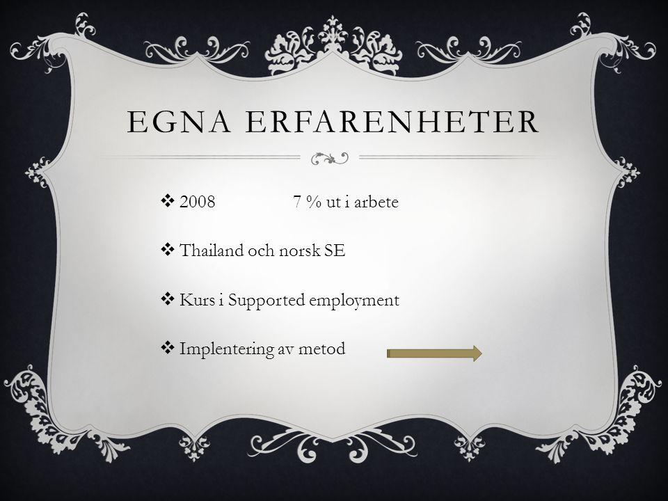 Egna Erfarenheter 2008 7 % ut i arbete Thailand och norsk SE