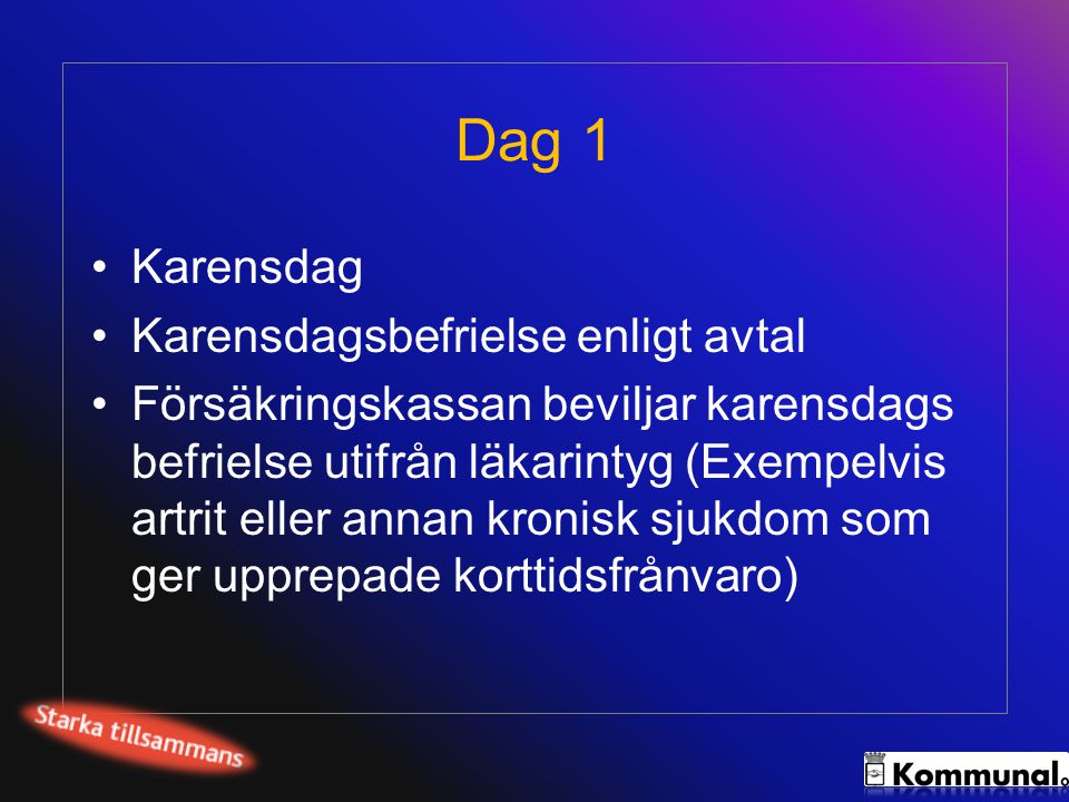 Dag 1 Karensdag Karensdagsbefrielse enligt avtal