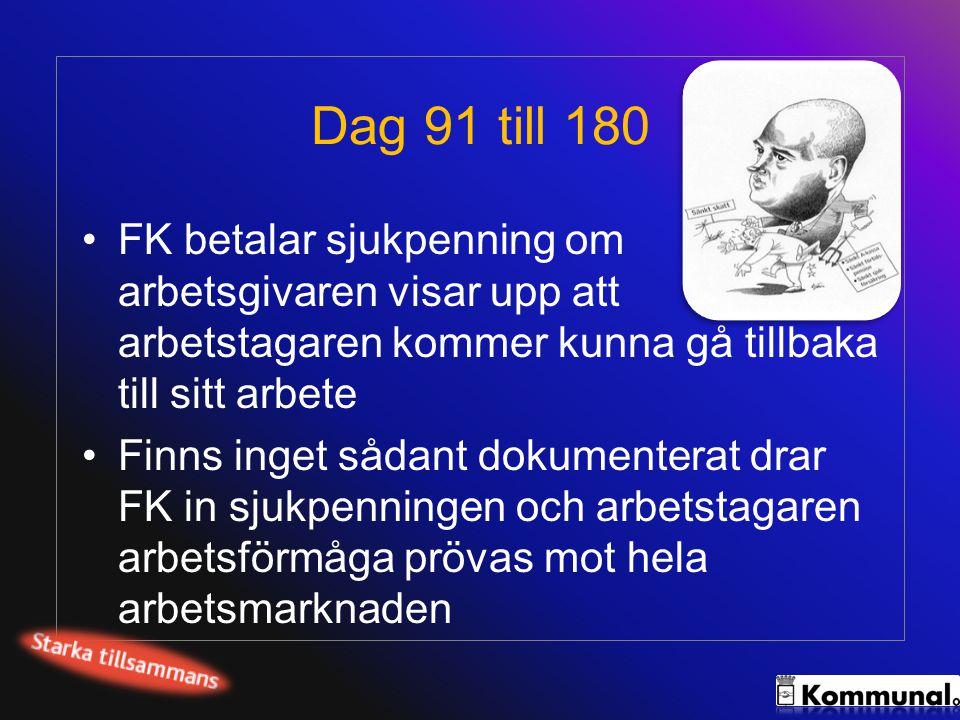 Dag 91 till 180 FK betalar sjukpenning om arbetsgivaren visar upp att arbetstagaren kommer kunna gå tillbaka till sitt arbete.