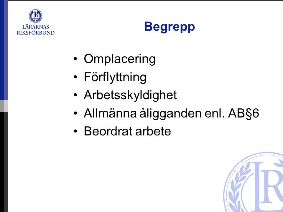 Begrepp Omplacering Förflyttning Arbetsskyldighet Allmänna åligganden enl. AB§6 Beordrat arbete