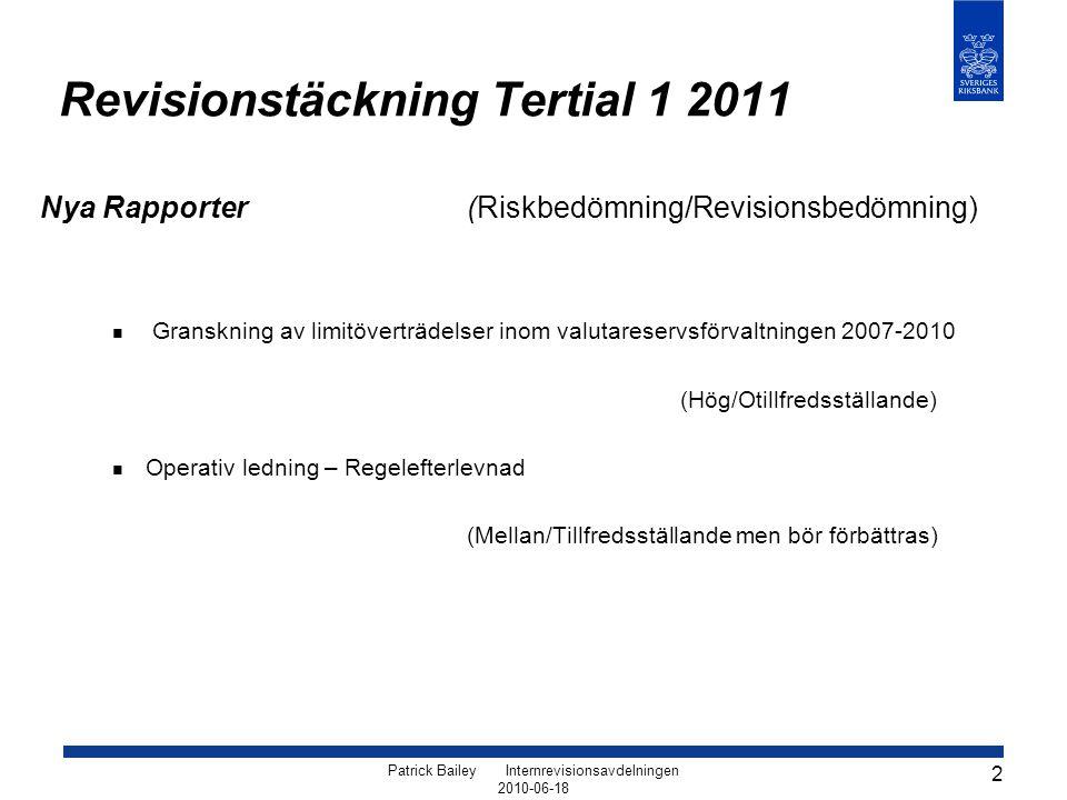Revisionstäckning Tertial 1 2011