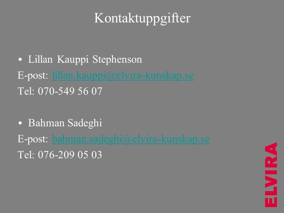 Kontaktuppgifter Lillan Kauppi Stephenson