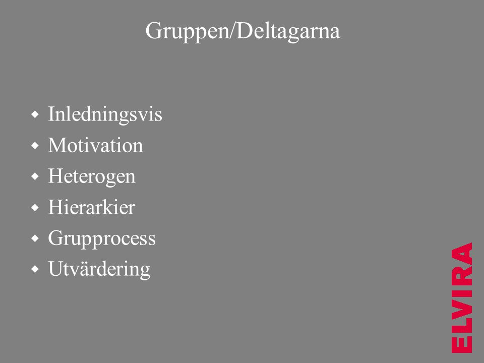 Gruppen/Deltagarna Inledningsvis Motivation Heterogen Hierarkier