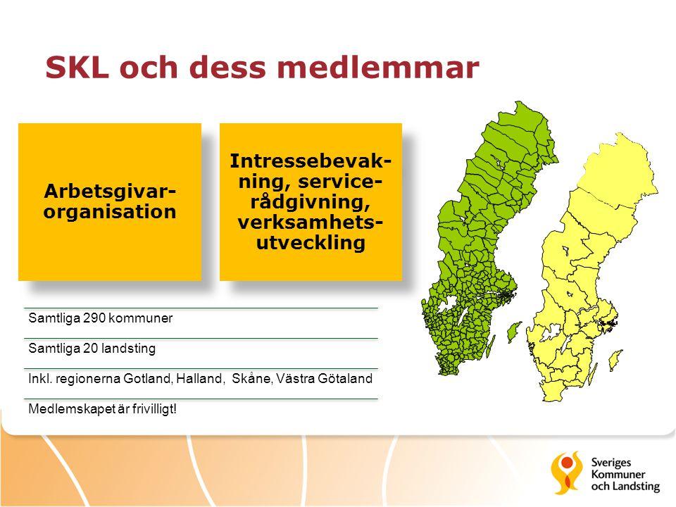 SKL och dess medlemmar Arbetsgivar-organisation. Intressebevak-ning, service-rådgivning, verksamhets-utveckling.