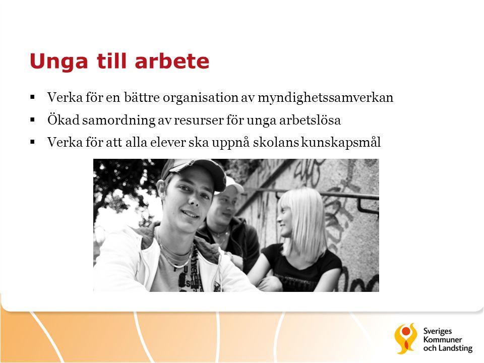 Unga till arbete Verka för en bättre organisation av myndighetssamverkan. Ökad samordning av resurser för unga arbetslösa.