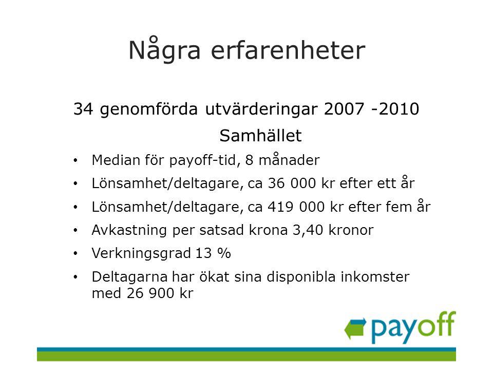Några erfarenheter 34 genomförda utvärderingar 2007 -2010 Samhället