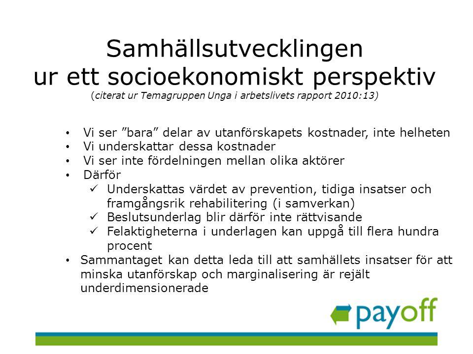 Samhällsutvecklingen ur ett socioekonomiskt perspektiv (citerat ur Temagruppen Unga i arbetslivets rapport 2010:13)