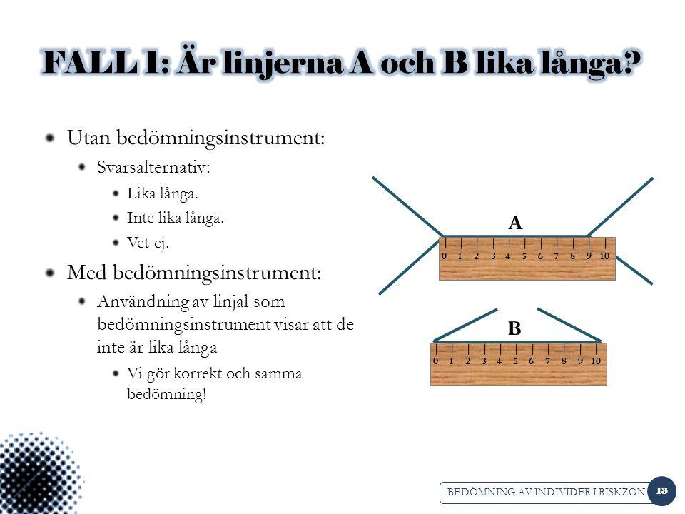 FALL 1: Är linjerna A och B lika långa