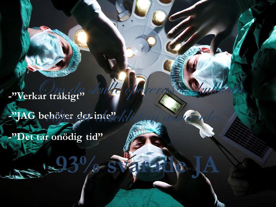 Om du skulle opereras – skulle du vilja att checklistan användes