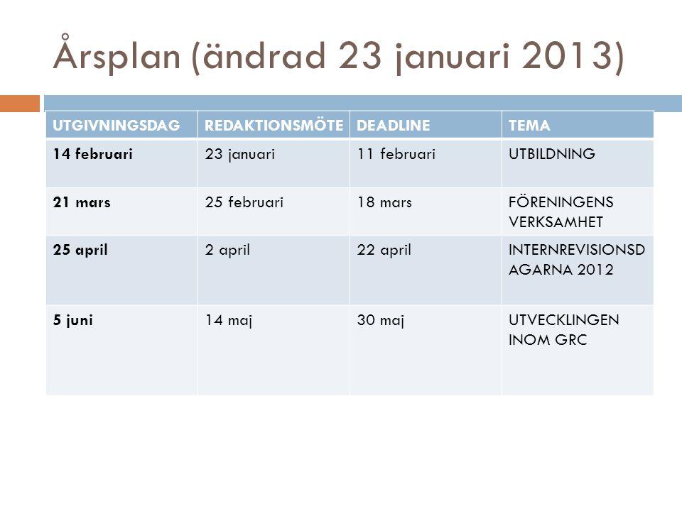 Årsplan (ändrad 23 januari 2013)