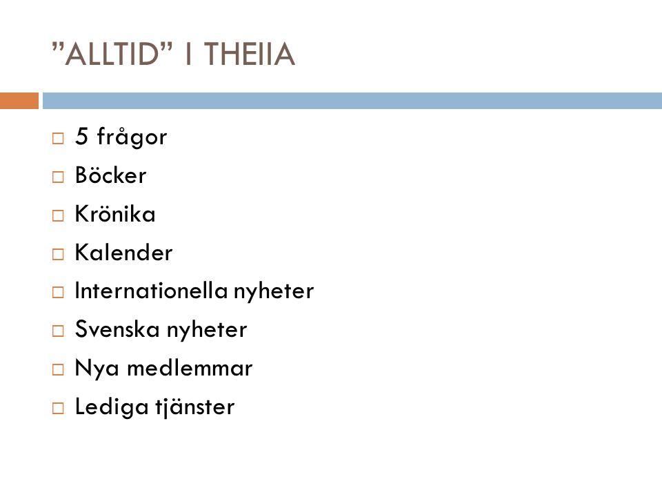 ALLTID I THEIIA 5 frågor Böcker Krönika Kalender