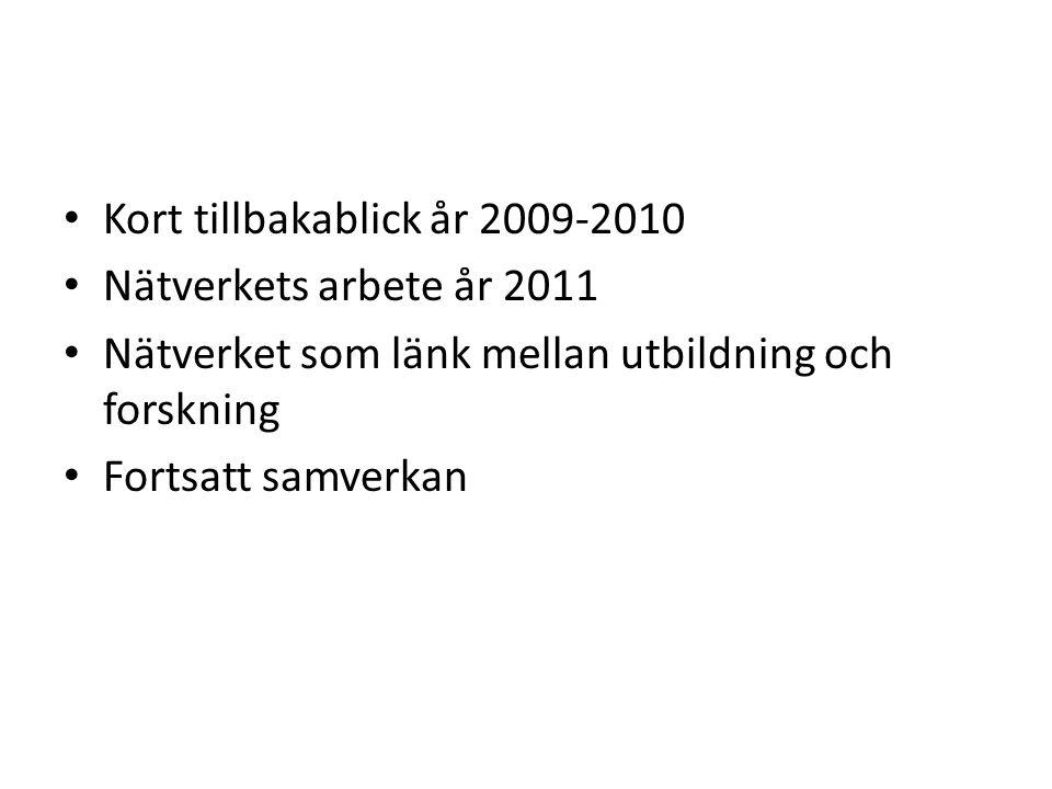 Kort tillbakablick år 2009-2010