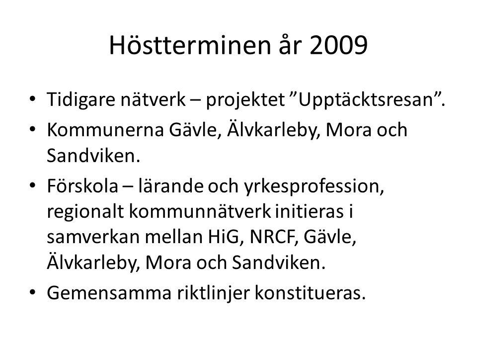 Höstterminen år 2009 Tidigare nätverk – projektet Upptäcktsresan .