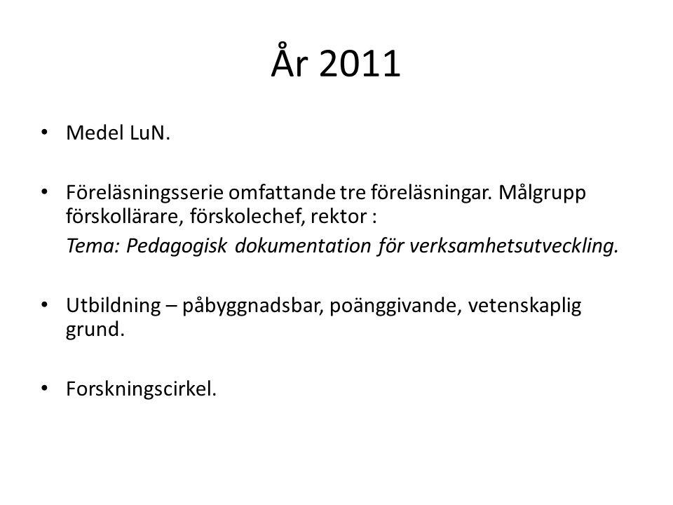 År 2011 Medel LuN. Föreläsningsserie omfattande tre föreläsningar. Målgrupp förskollärare, förskolechef, rektor :