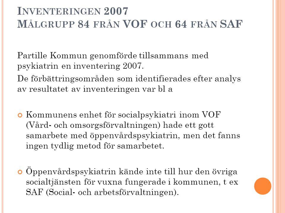 Inventeringen 2007 Målgrupp 84 från VOF och 64 från SAF