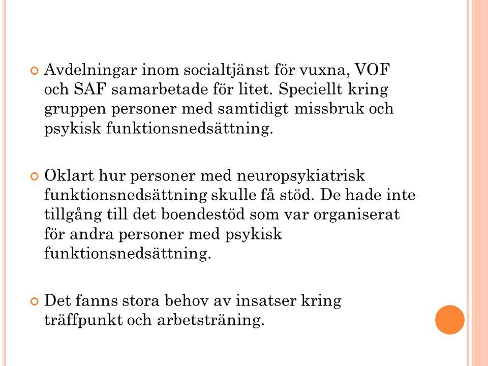 Avdelningar inom socialtjänst för vuxna, VOF och SAF samarbetade för litet. Speciellt kring gruppen personer med samtidigt missbruk och psykisk funktionsnedsättning.