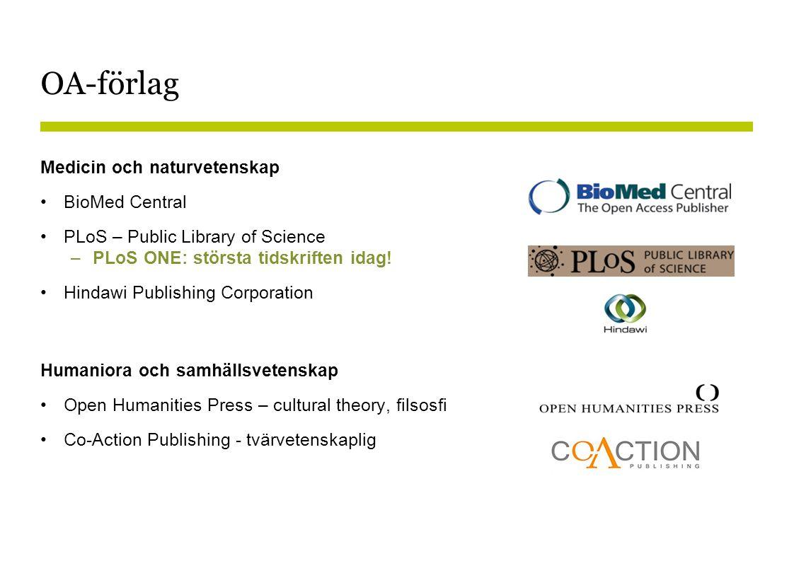 OA-förlag Medicin och naturvetenskap BioMed Central