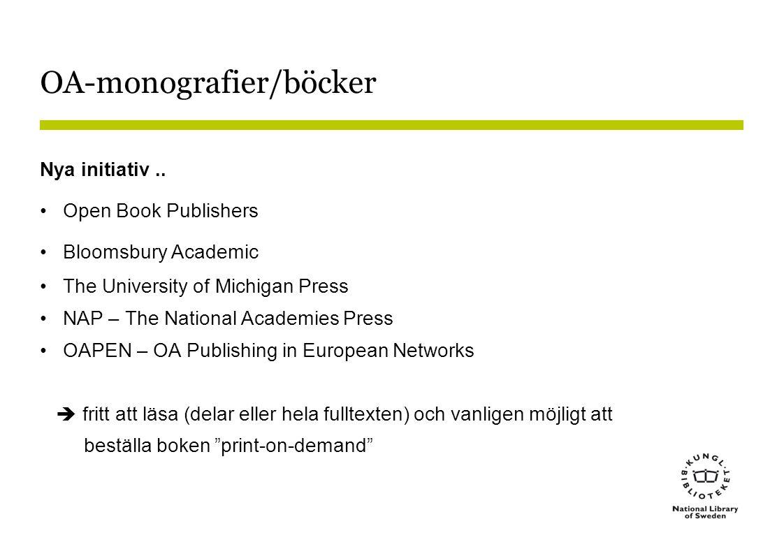 OA-monografier/böcker