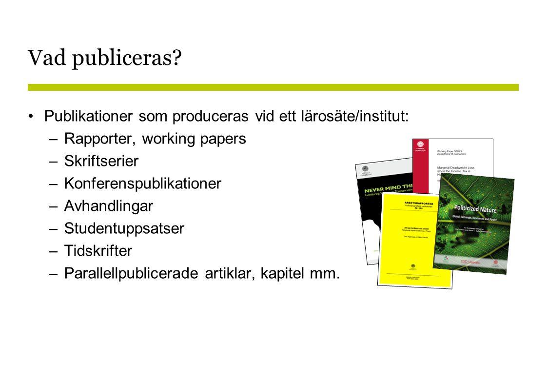 Vad publiceras Publikationer som produceras vid ett lärosäte/institut: Rapporter, working papers.