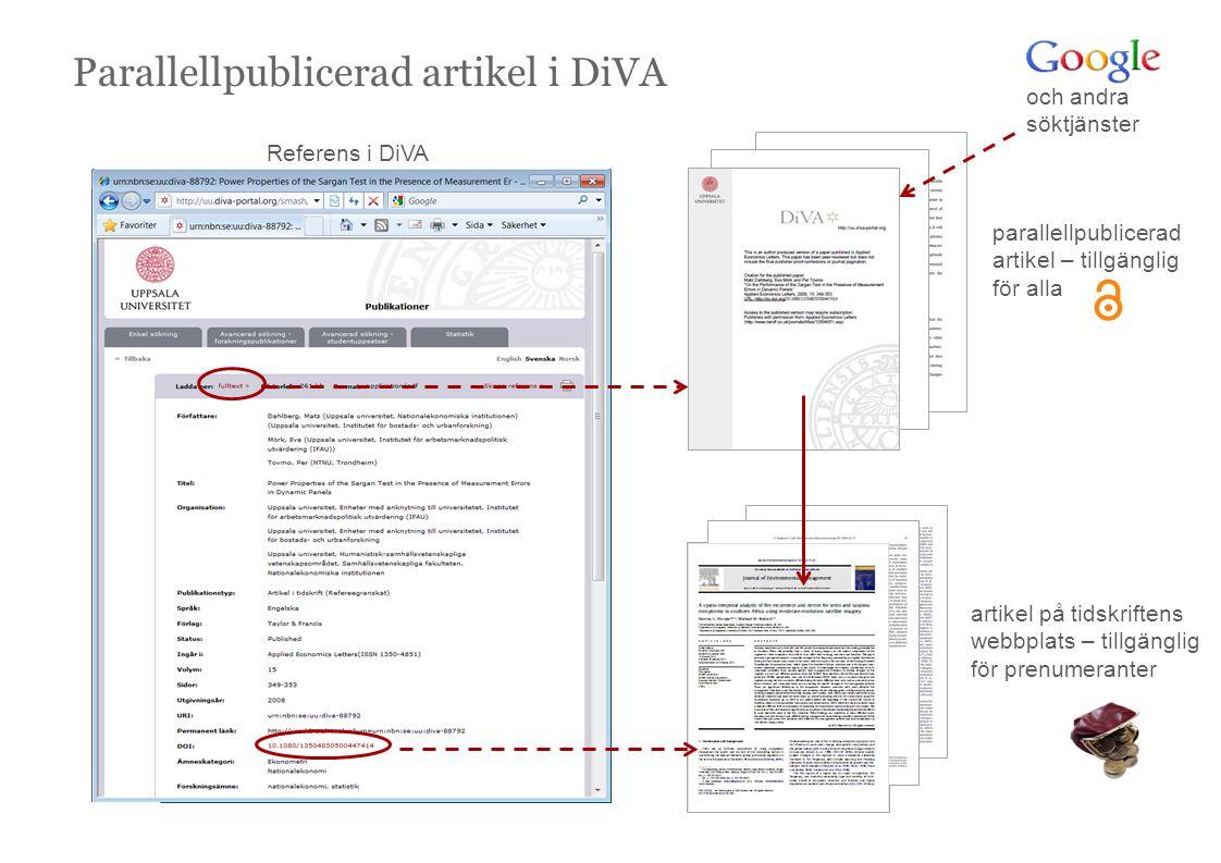 Parallellpublicerad artikel i DiVA