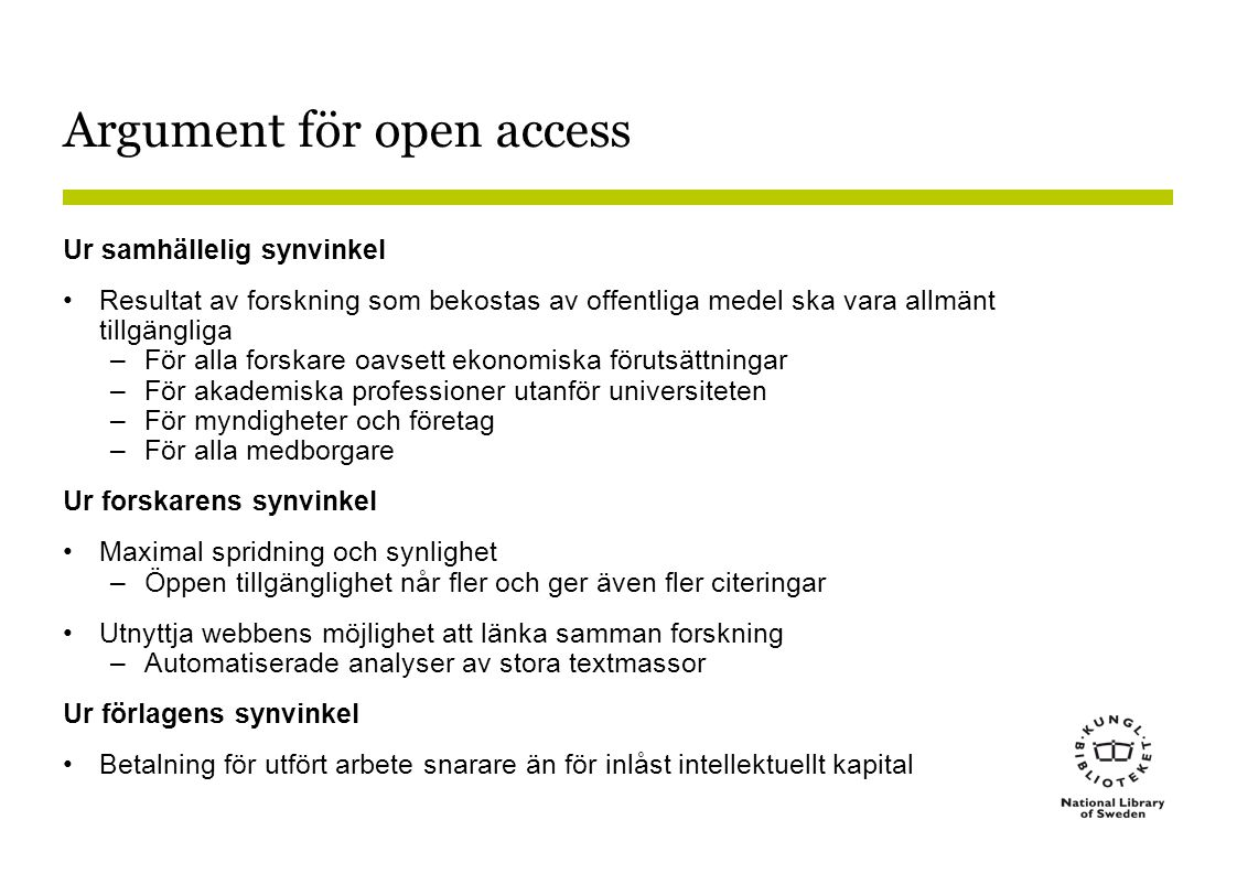 Argument för open access
