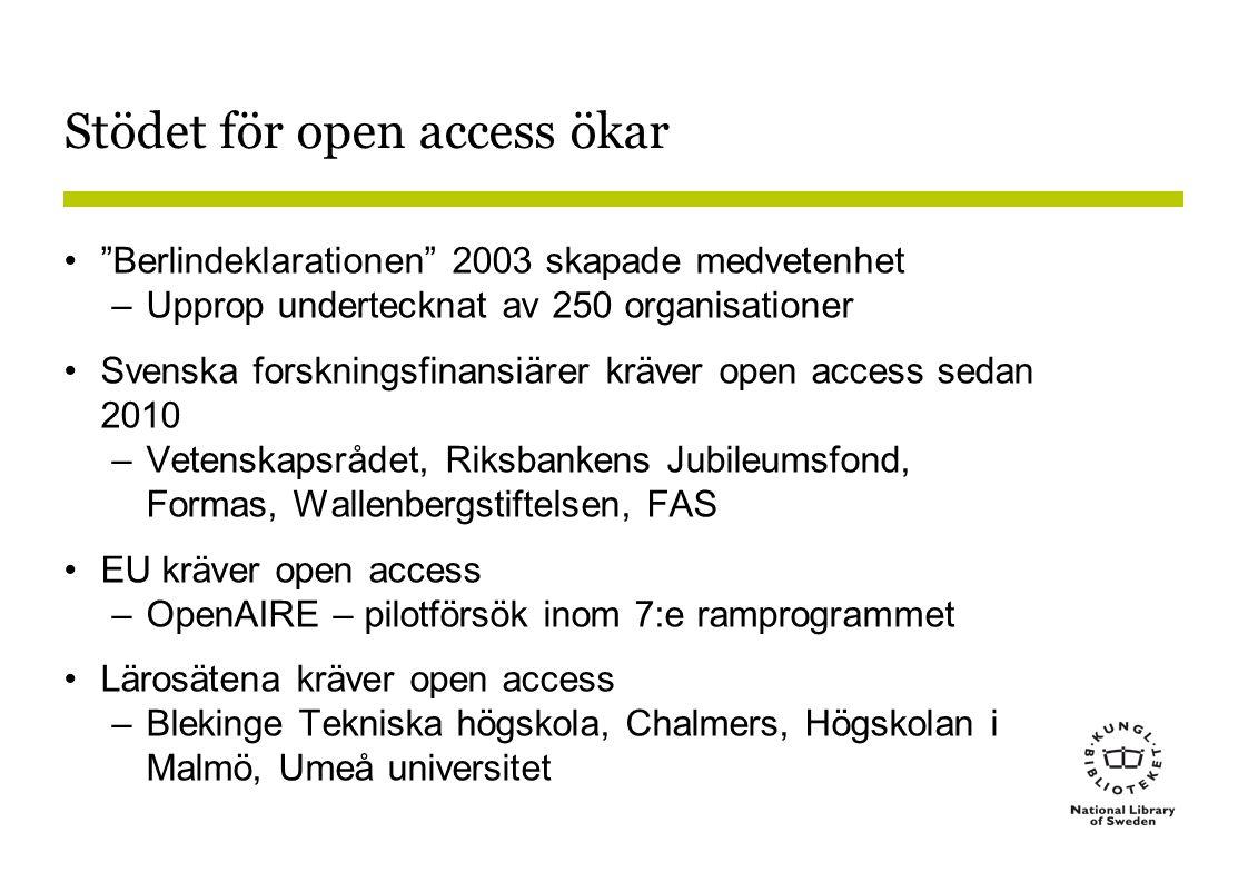 Stödet för open access ökar