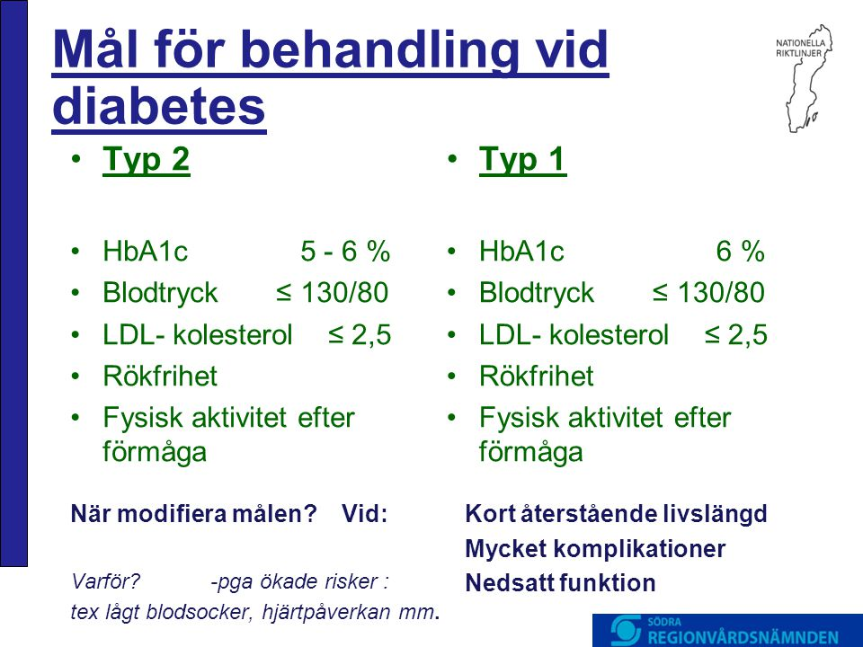 Mål för behandling vid diabetes