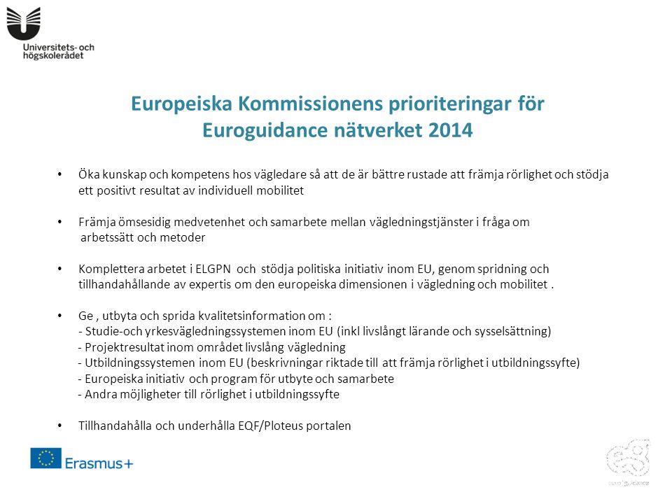 Europeiska Kommissionens prioriteringar för Euroguidance nätverket 2014