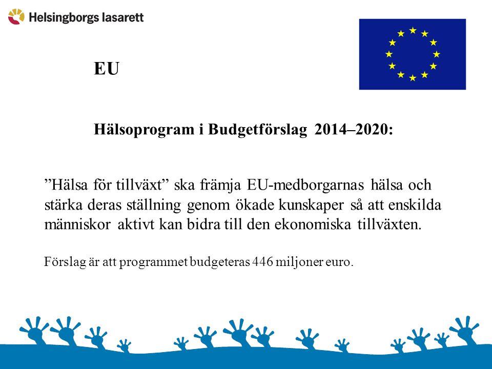 EU Hälsoprogram i Budgetförslag 2014–2020: Hälsa för tillväxt ska främja EU-medborgarnas hälsa och.