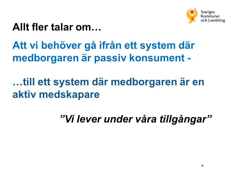 Allt fler talar om… Att vi behöver gå ifrån ett system där medborgaren är passiv konsument - …till ett system där medborgaren är en aktiv medskapare.
