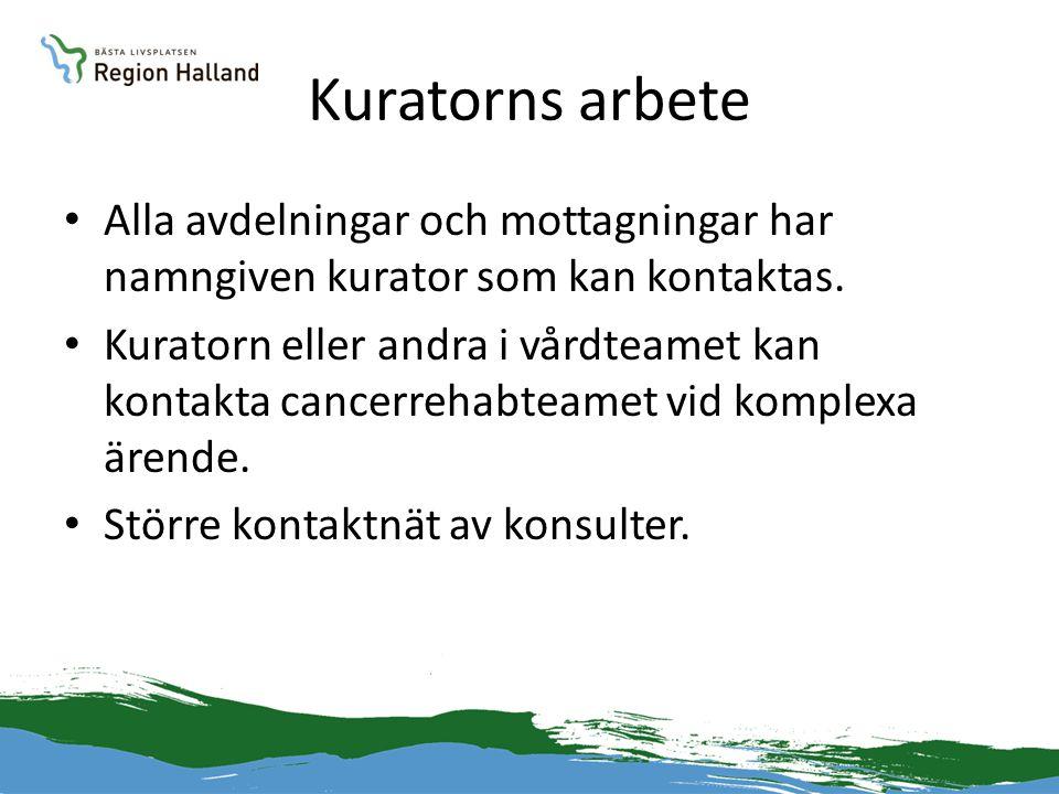 Kuratorns arbete Alla avdelningar och mottagningar har namngiven kurator som kan kontaktas.