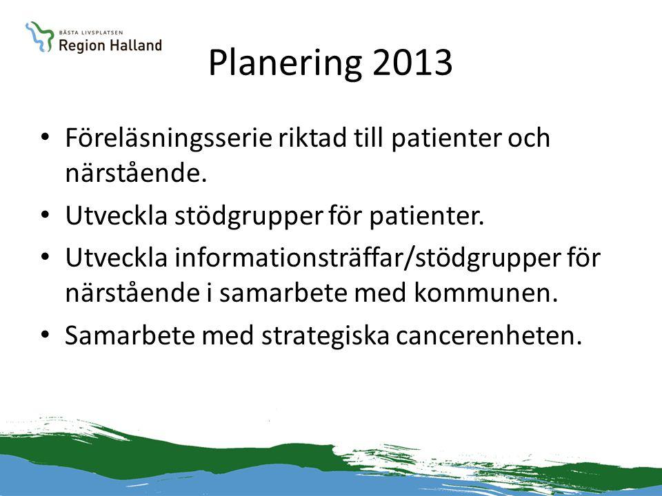 Planering 2013 Föreläsningsserie riktad till patienter och närstående.
