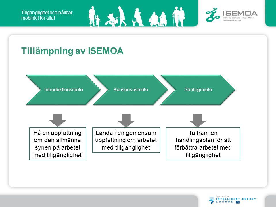 Introduktionsmöte Konsensusmöte. Strategimöte. Tillämpning av ISEMOA. Få en uppfattning om den allmänna synen på arbetet med tillgänglighet.