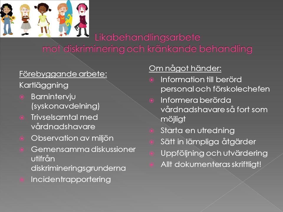 Likabehandlingsarbete mot diskriminering och kränkande behandling