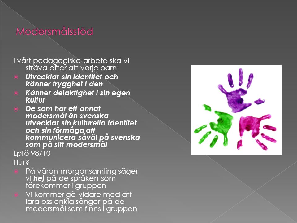 Modersmålsstöd I vårt pedagogiska arbete ska vi sträva efter att varje barn: Utvecklar sin identitet och känner trygghet i den.