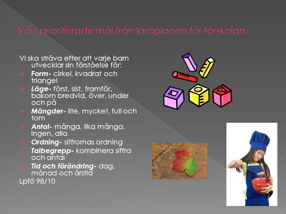 Vårt prioriterade mål från läroplanen för förskolan