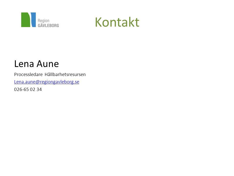 Kontakt Lena Aune Processledare Hållbarhetsresursen
