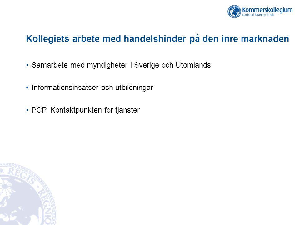 Kollegiets arbete med handelshinder på den inre marknaden