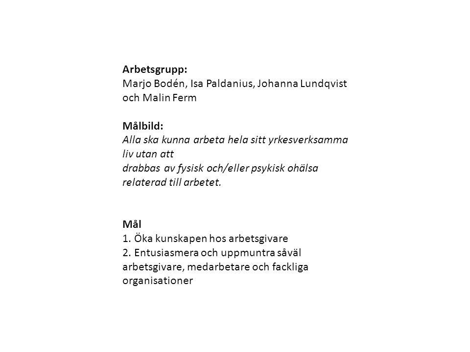 Arbetsgrupp: Marjo Bodén, Isa Paldanius, Johanna Lundqvist och Malin Ferm