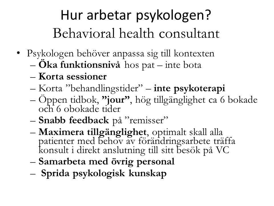 Hur arbetar psykologen Behavioral health consultant