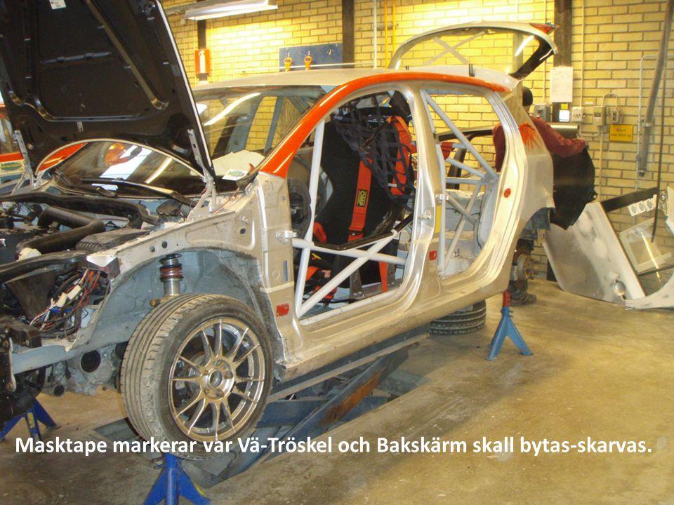 Masktape markerar var Vä-Tröskel och Bakskärm skall bytas-skarvas.