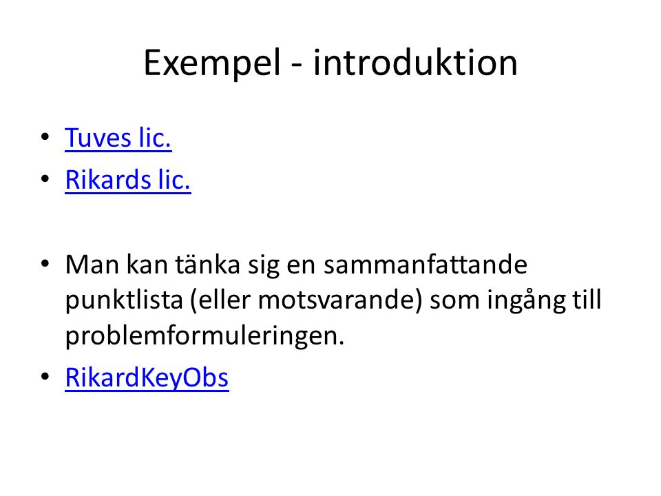 Exempel - introduktion
